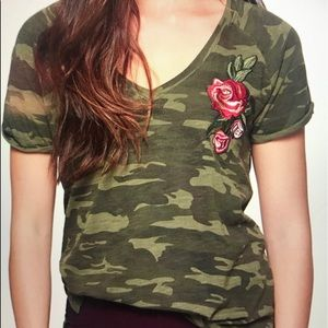 Sanctuary Green Camouflage T-shirt with Red Rose